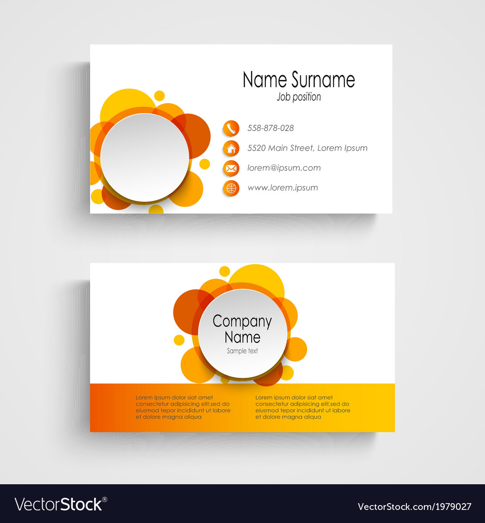 Modern orange round business card template vector image accmission Gallery