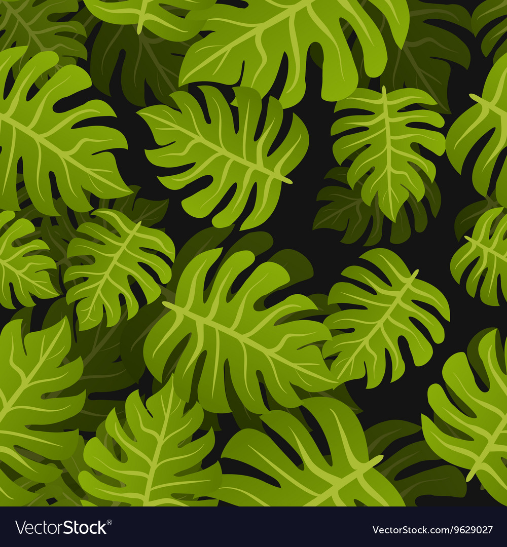 Seamless tropic leafs background Floral summer