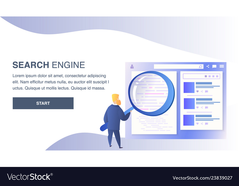 Search engine website flat color template