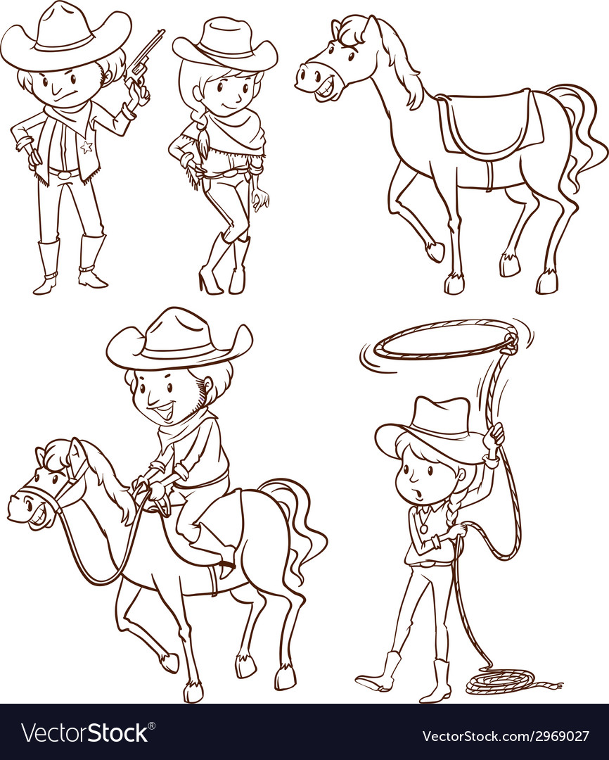 Simple sketches of a cowboy