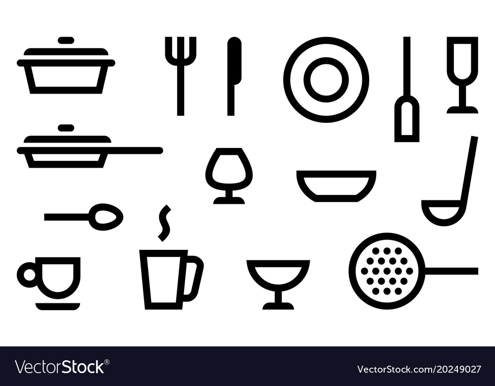 Simple symbols of cookery kitchen utensils and