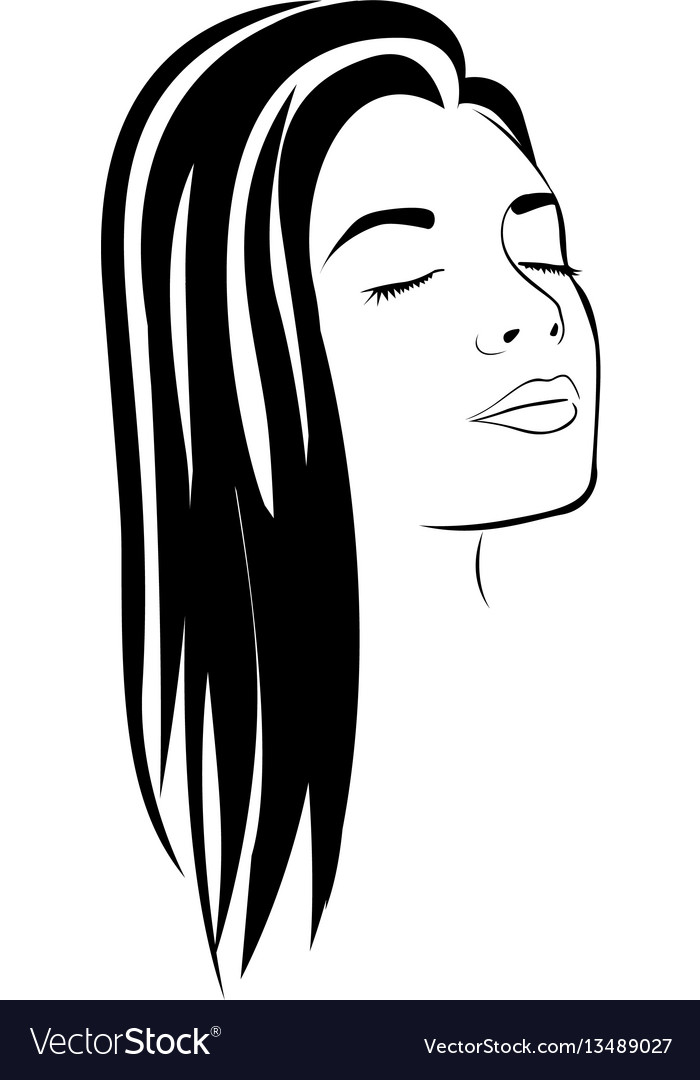 Sketch female face silhouette with long hairstyle