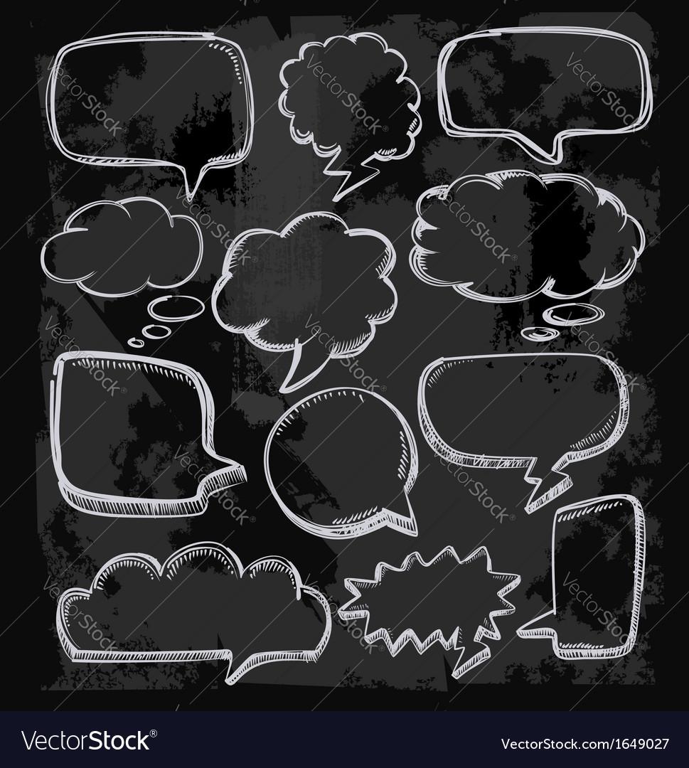 Speech bubbles on chalkboard