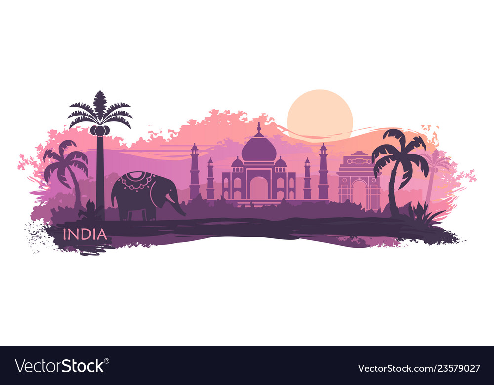 Stylized landscape of india with the taj mahal and