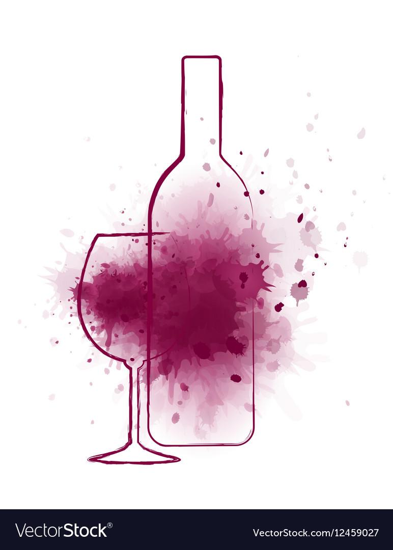 Wine bottle and grape splash