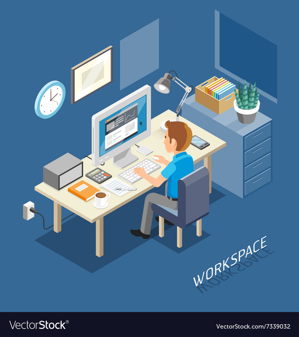 Business Work Space Isometric Flat Style