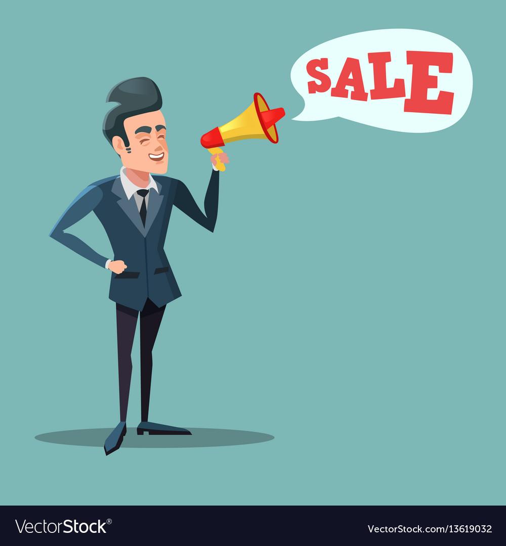 Cartoon businessman with megaphone promoting sale