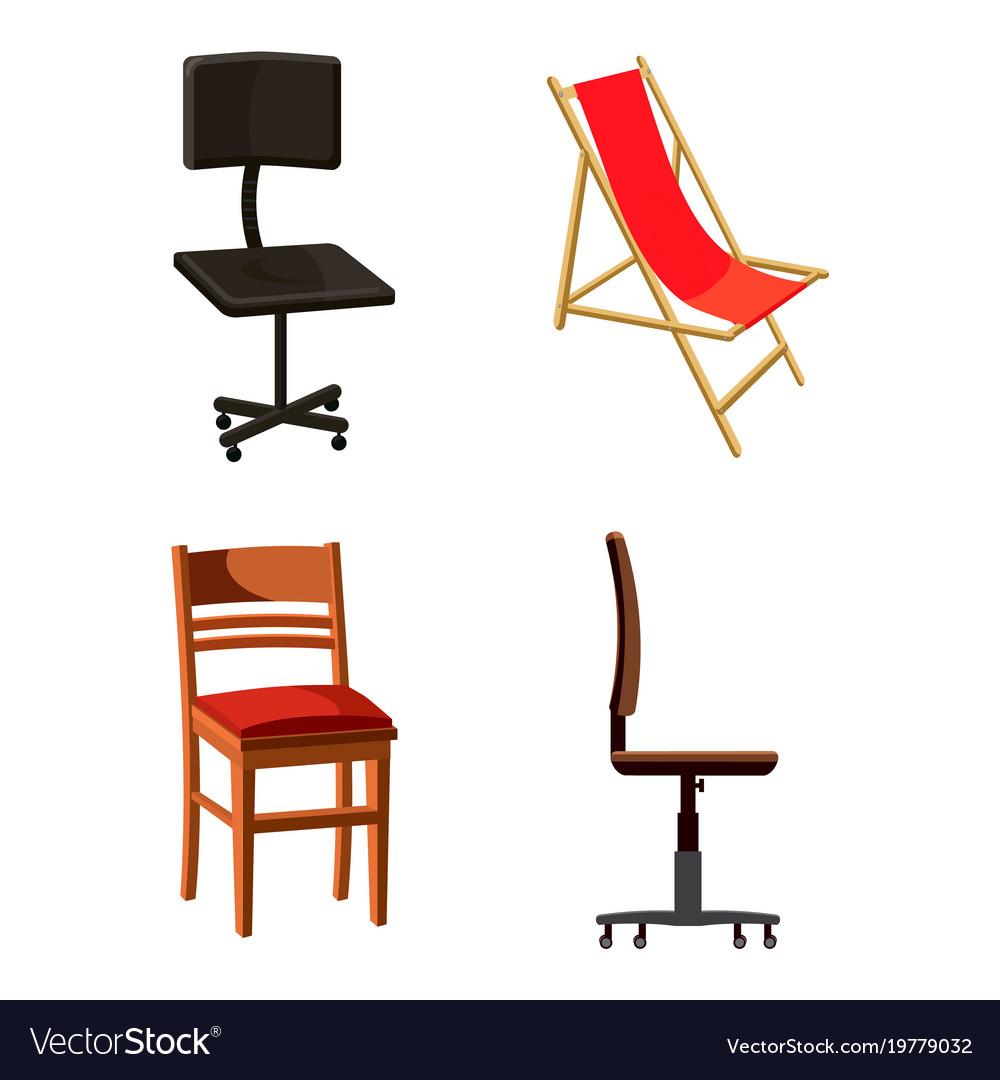 Chair icon set cartoon style