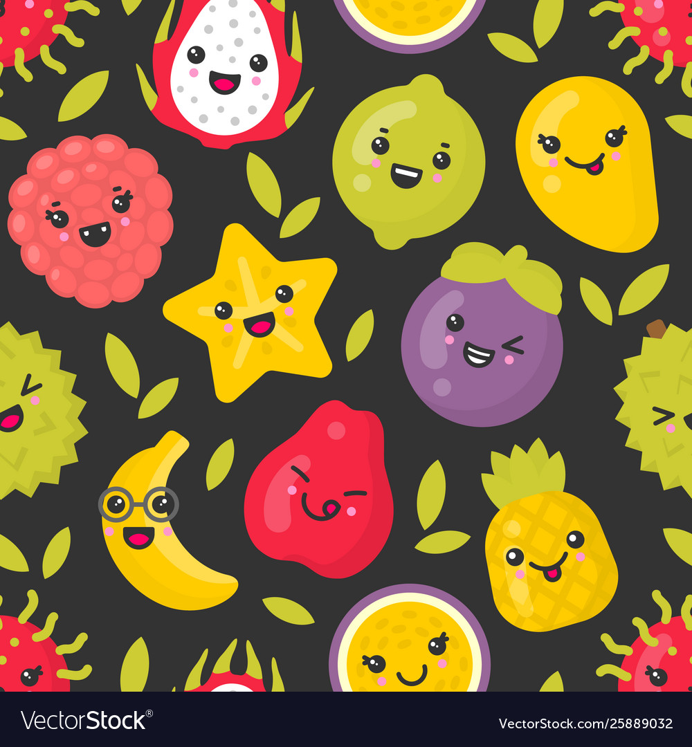Cute smiling exotic fruits seamless