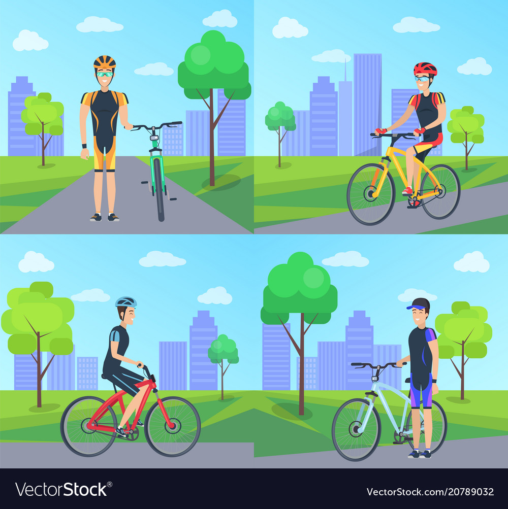 Cyclist and bike at city set
