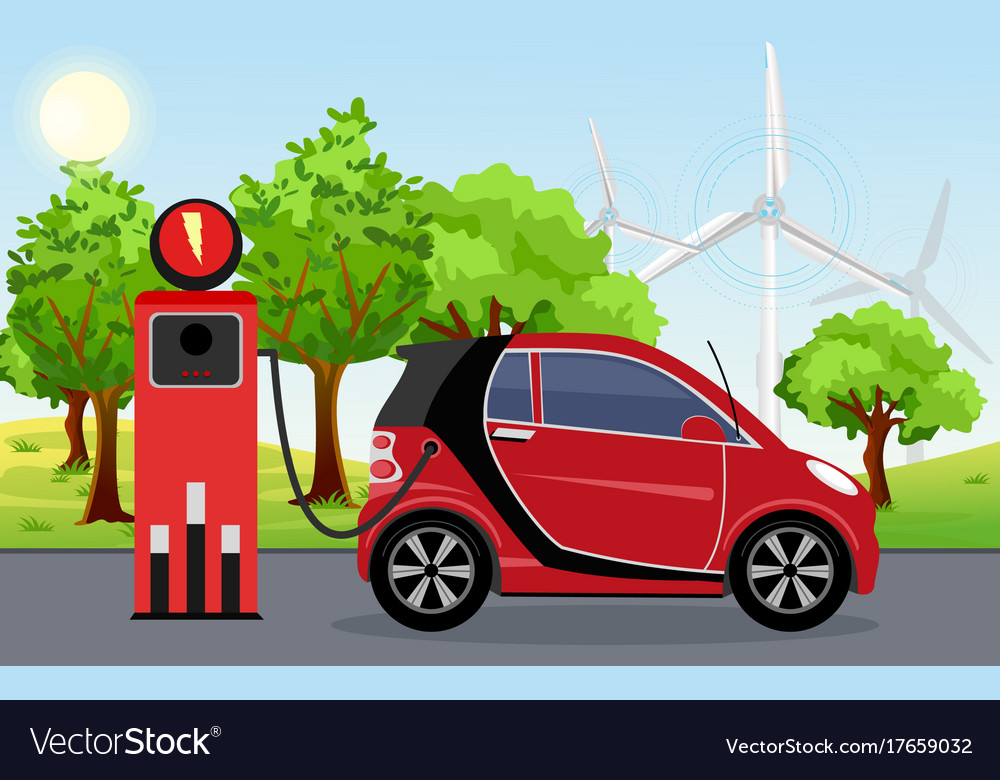 Electric car red color on