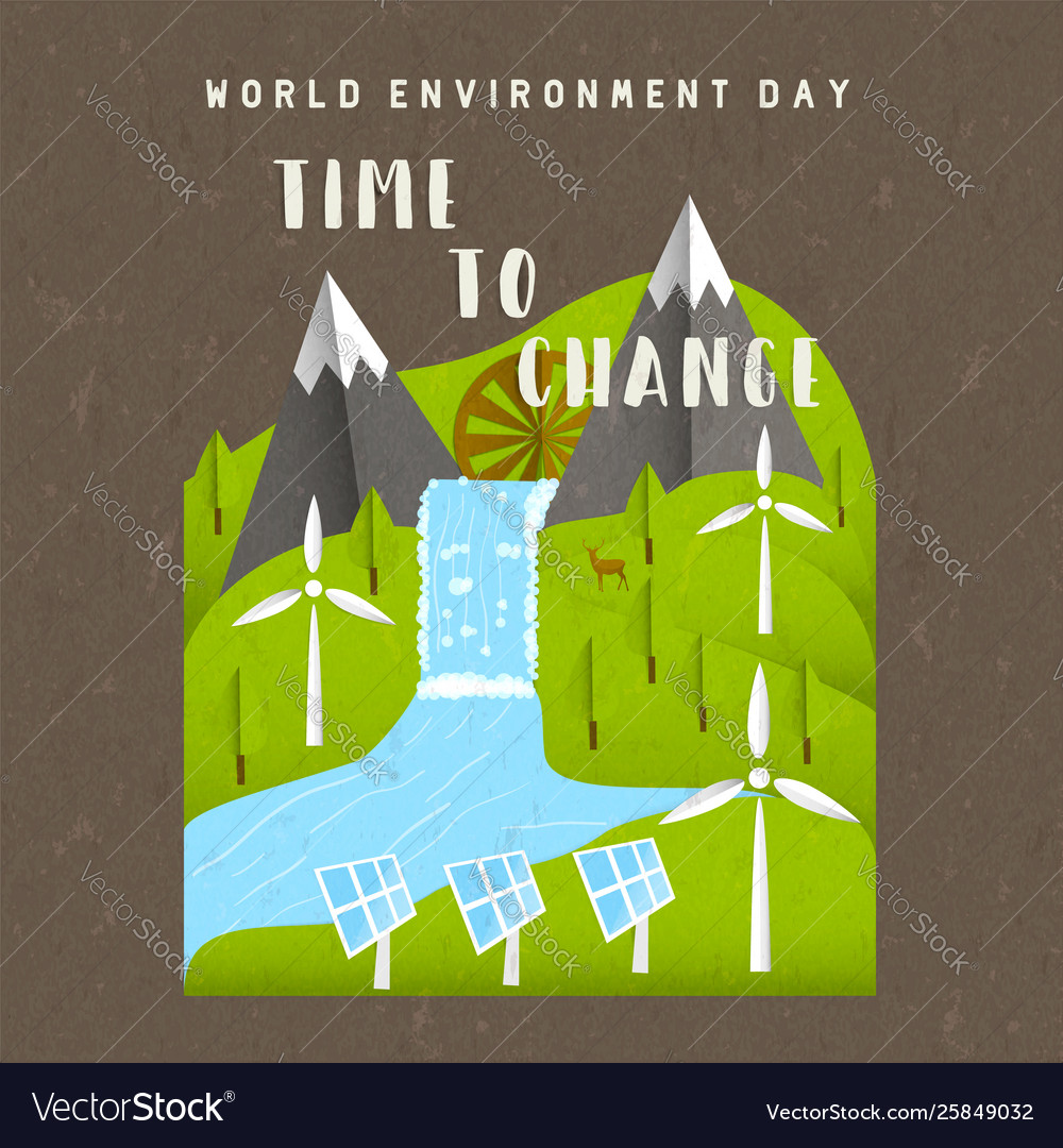 Environment day card green nature landscape