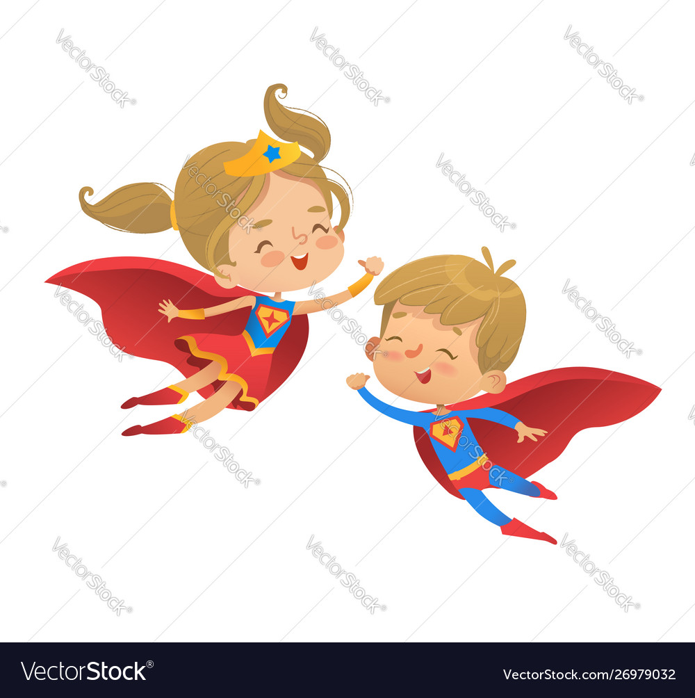 Flying and laughing superhero boy and girl brown