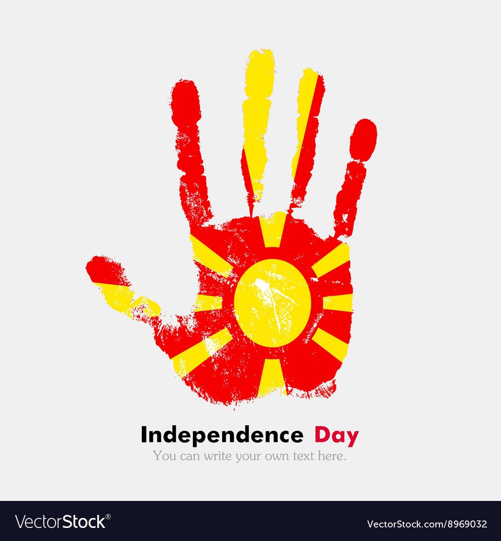Handprint With The Flag Of Macedonia In Grunge