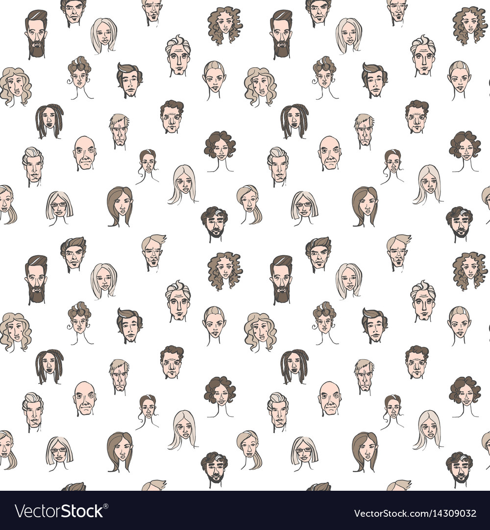 Seamless pattern of male and female doodle hand