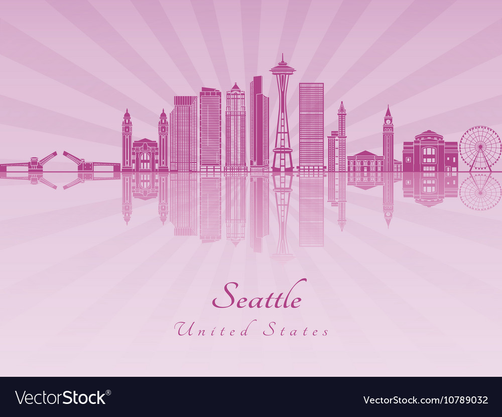 Seattle V2 skyline in purple radiant orchid