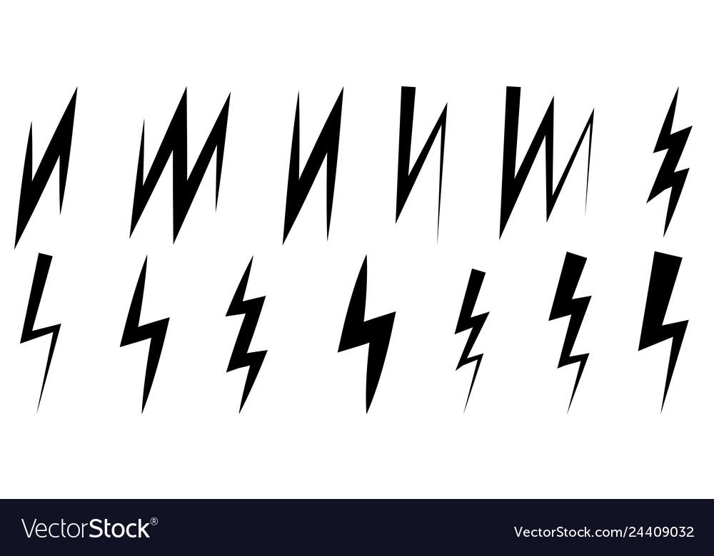 Set icons thunder and lightning symbol z