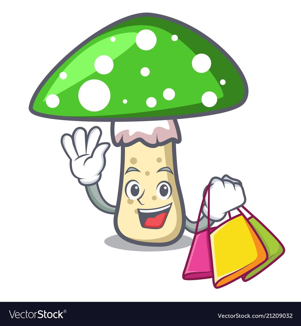 Shopping green amanita mushroom character cartoon