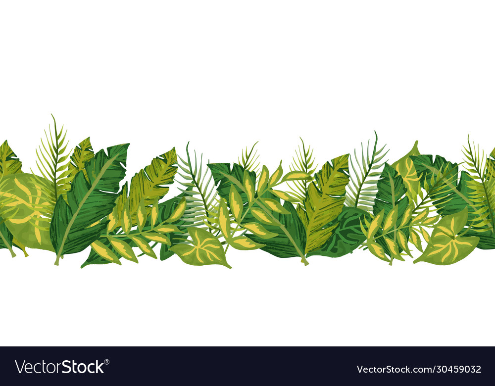 Tropical palm leaves seamless border