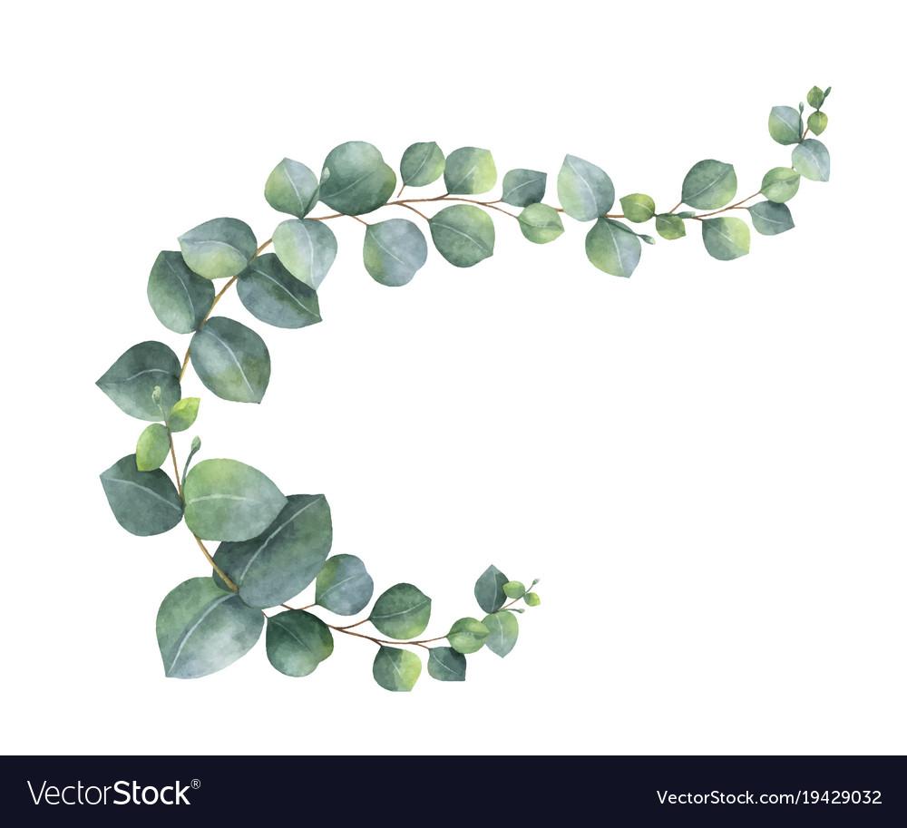 Watercolor wreath with green eucalyptus