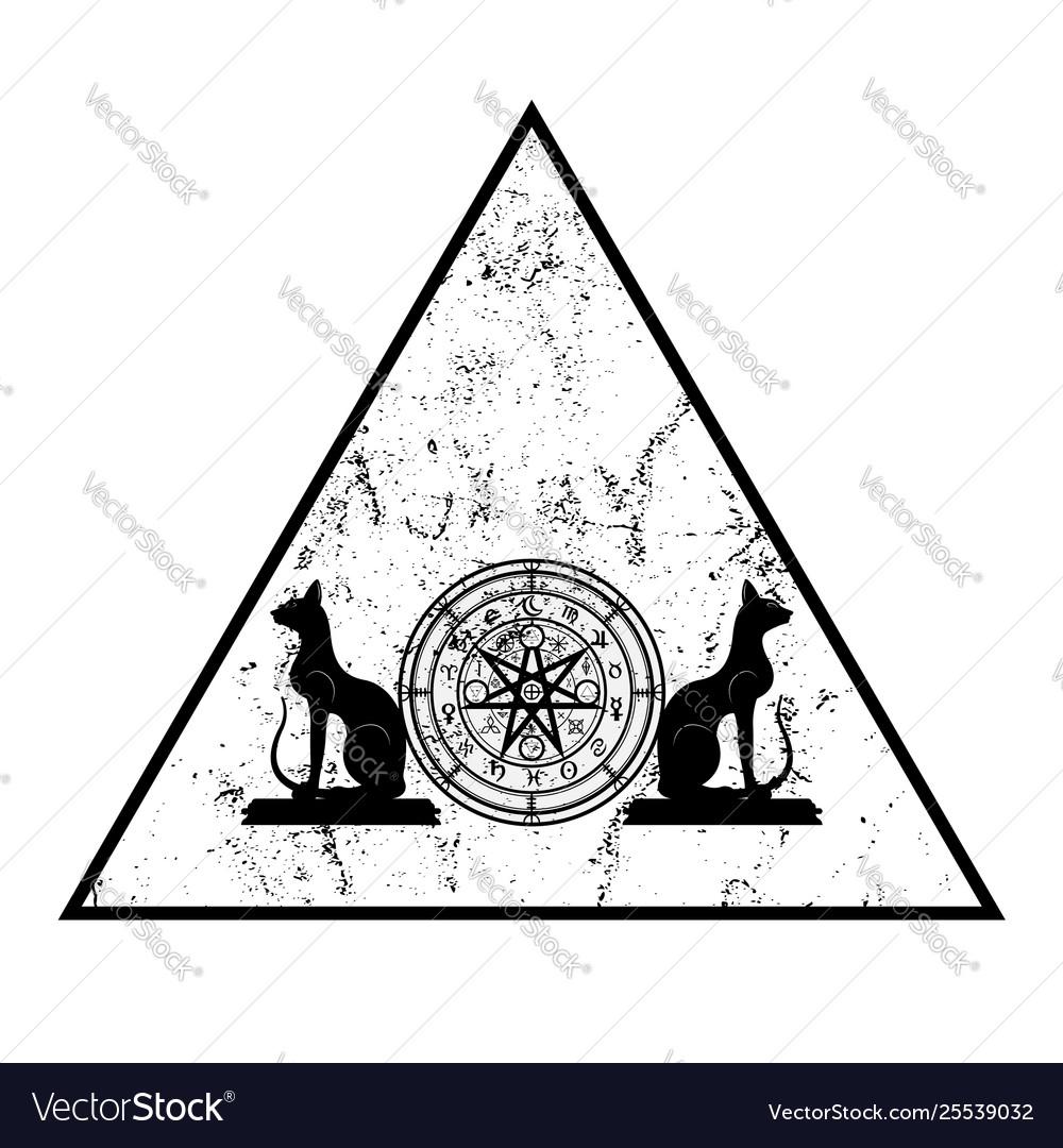 1548ca58a461e Wiccan symbol protection triangle mandala Vector Image