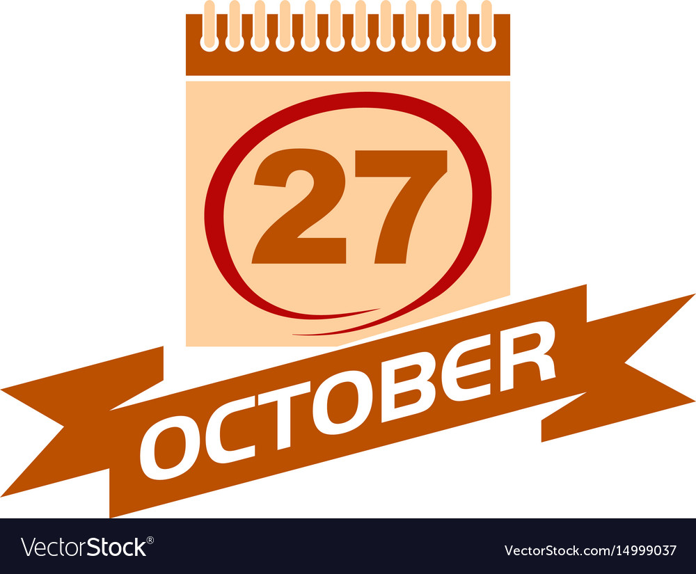 27 october calendar with ribbon vector image