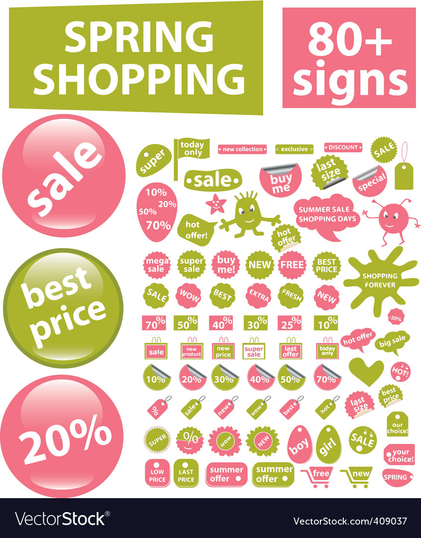 80 spring shopping signs