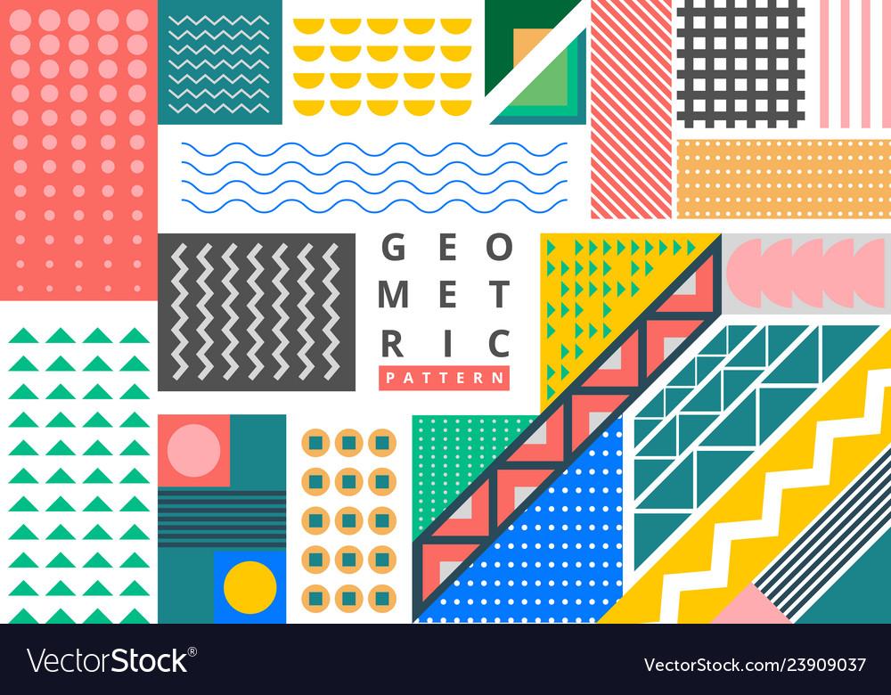 Abstract bundle bright geometric pattern memphis