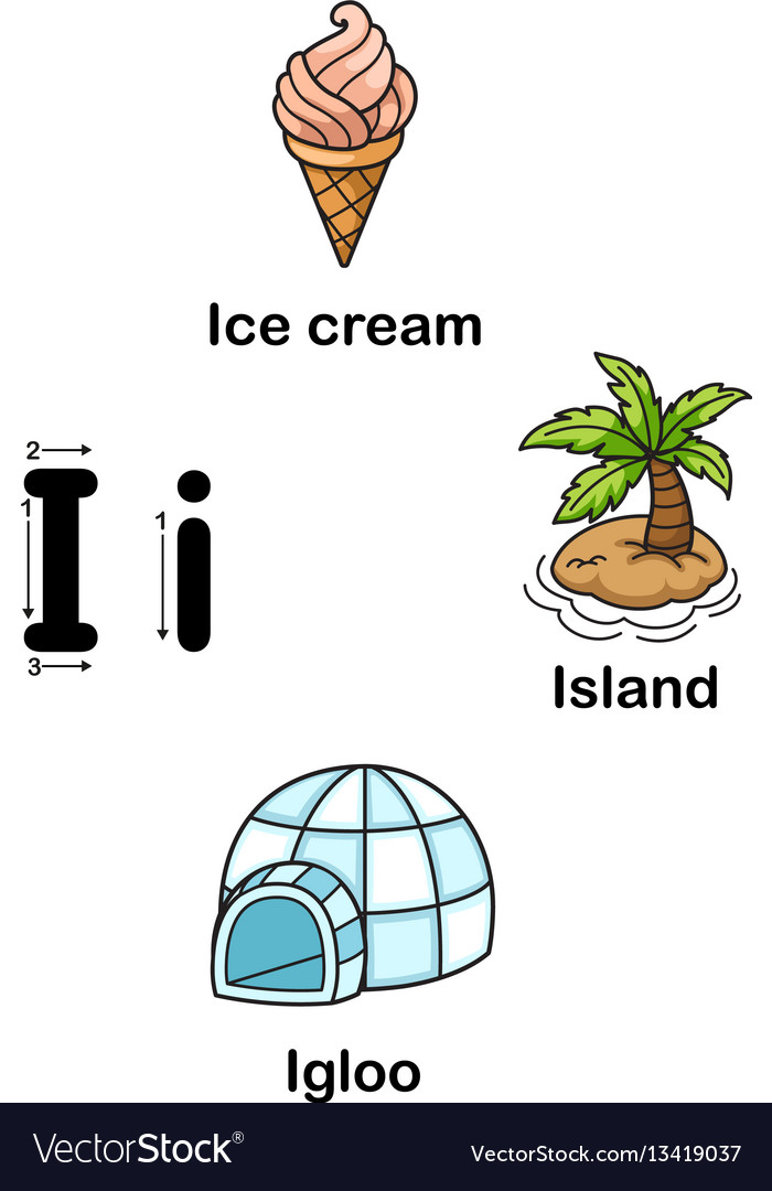 Alphabet letter i-ice cream island igloo