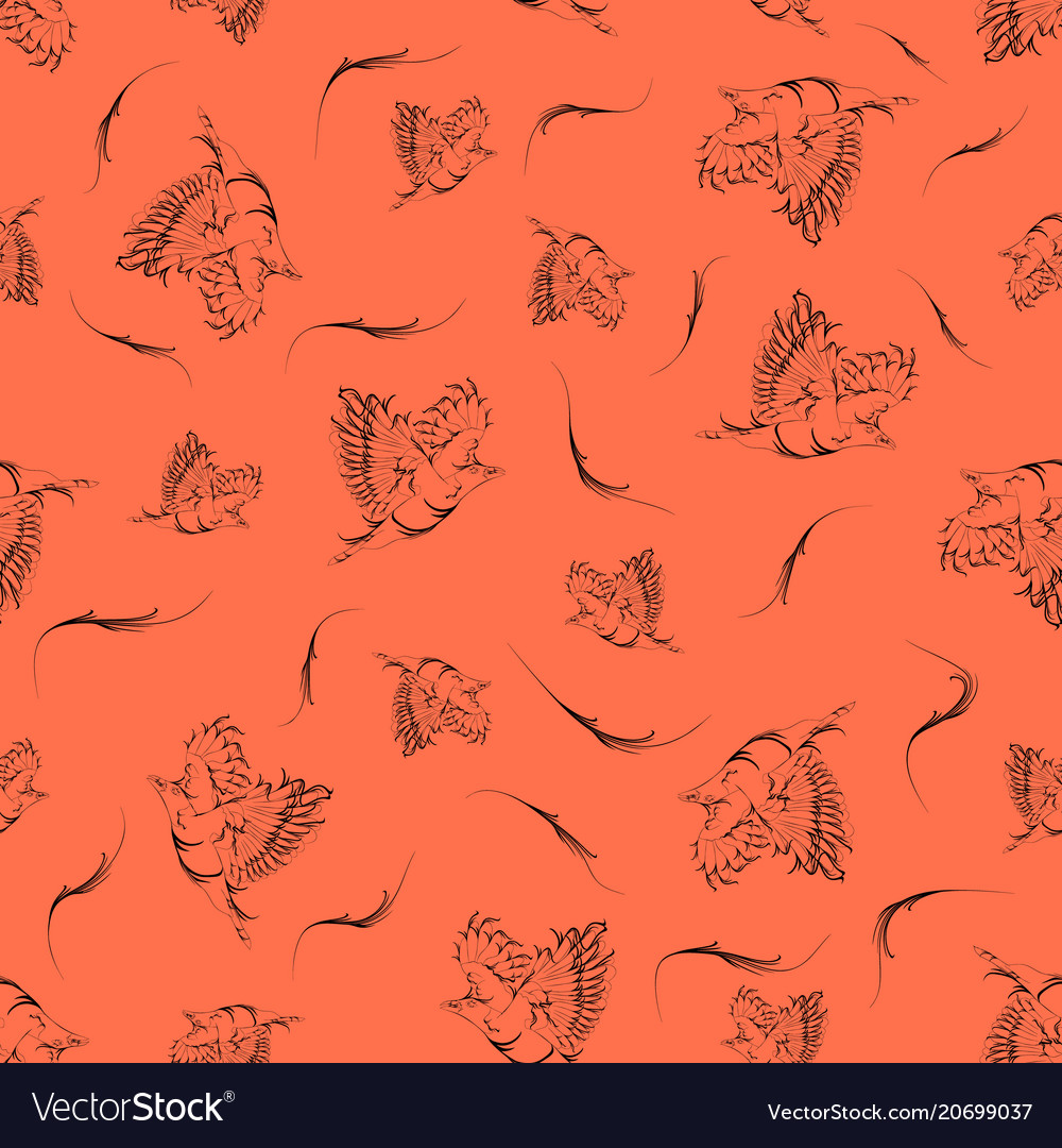 Brick background with vintage contour birds and