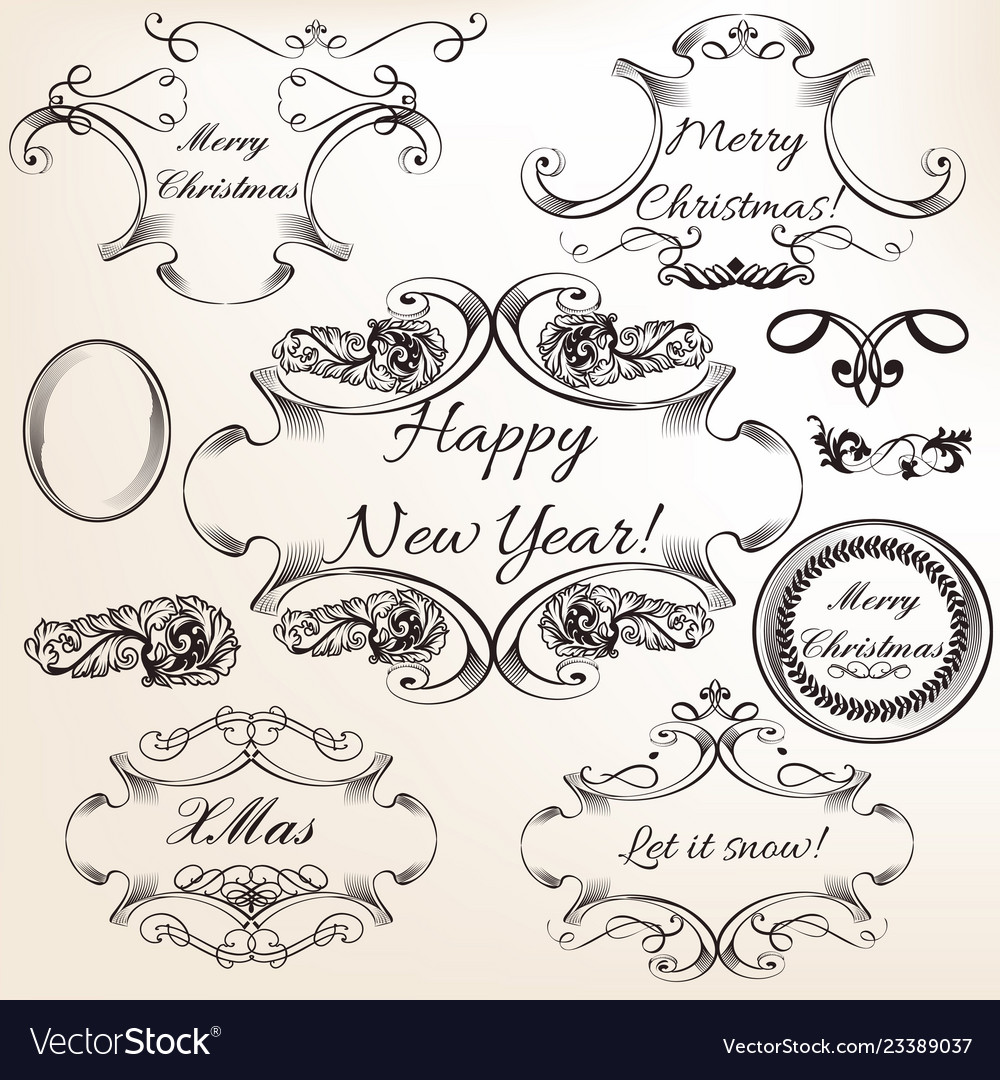 Collection of hand drawn flourishes engraved style