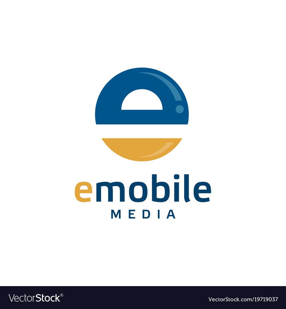 Creative letter e circle logo vector image
