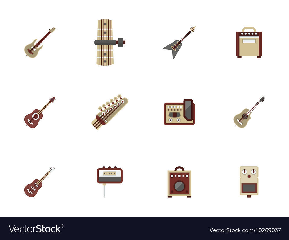 Flat color icons for guitars vector image