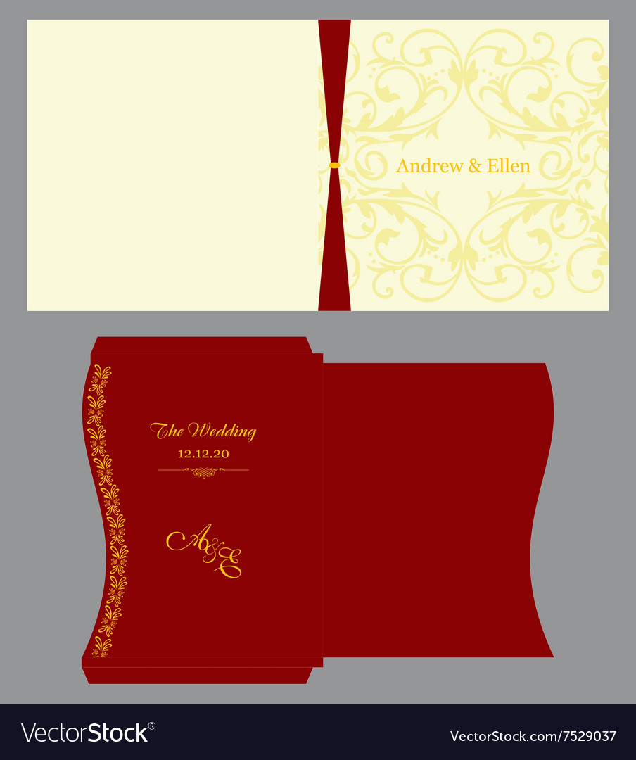 Floral Square Invitation with Envelope Royalty Free Vector