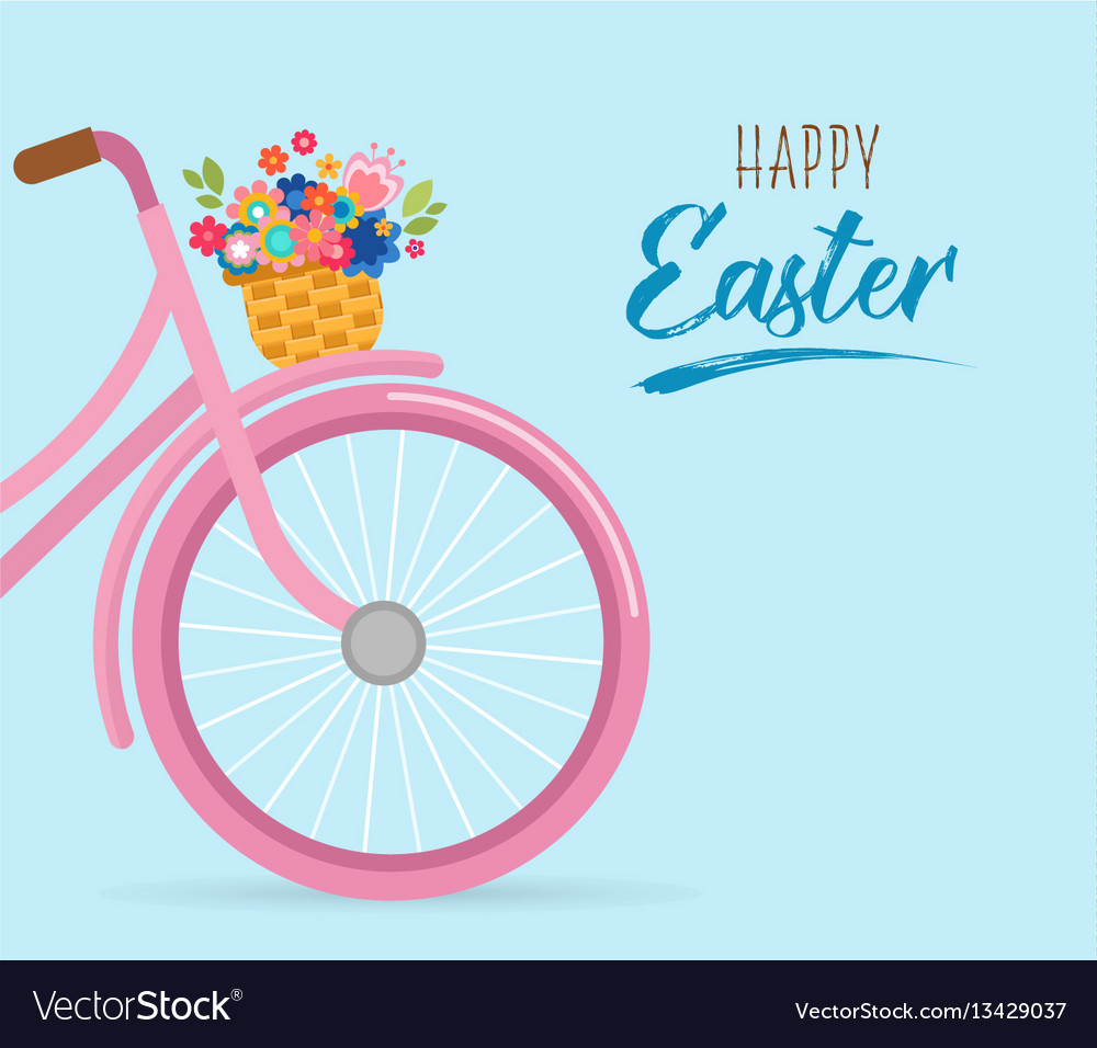 Happy easter card with flowers in the basket