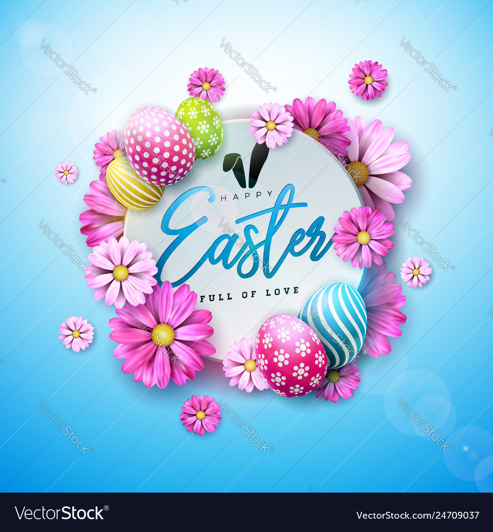 Happy easter holiday design with painted egg and