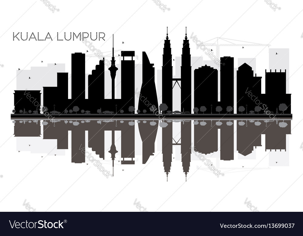 Kuala lumpur city skyline black and white vector image