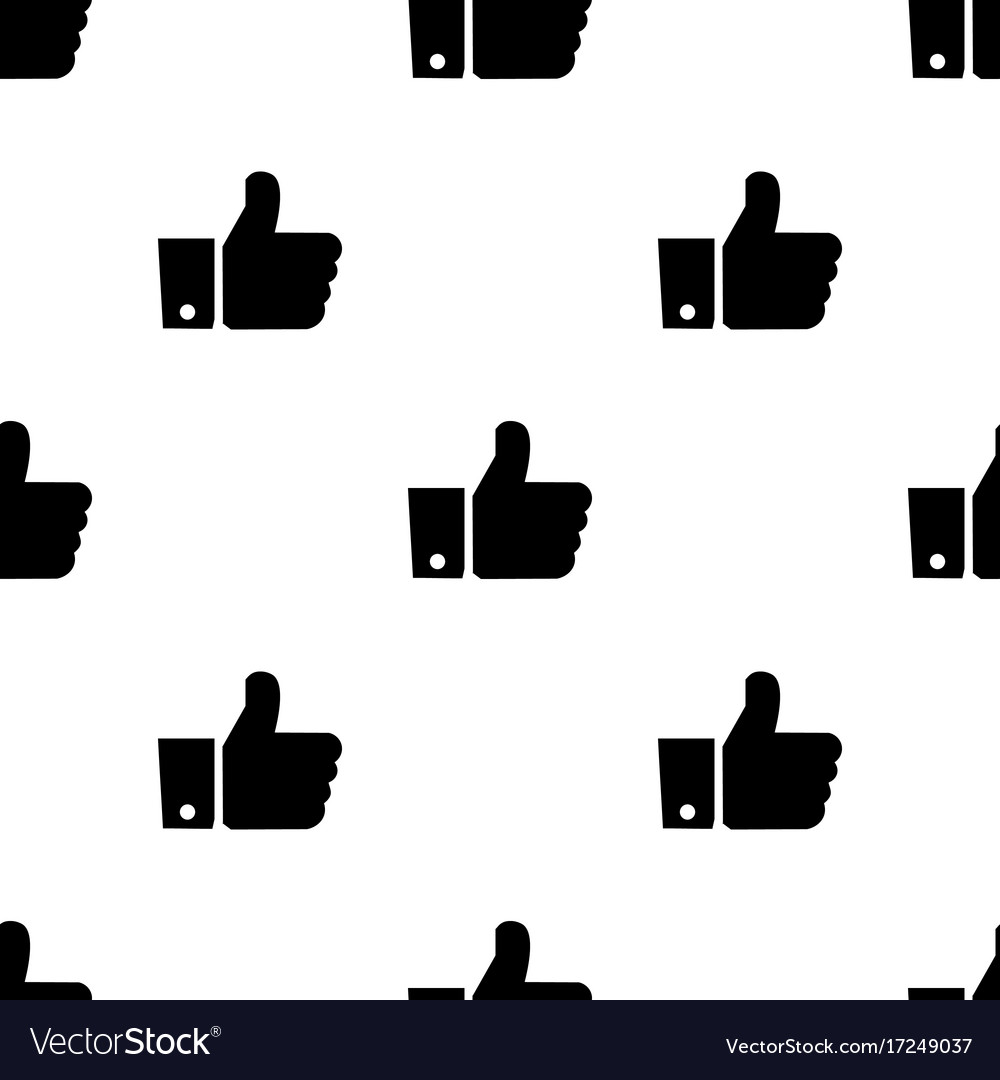 Seamless pattern with like black silhouette flat
