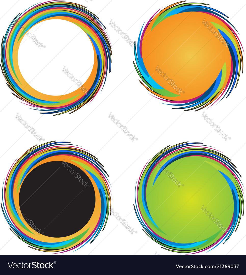 Set of colorful circular waves