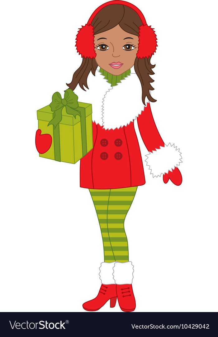 African American Christmas Girl Royalty Free Vector Image