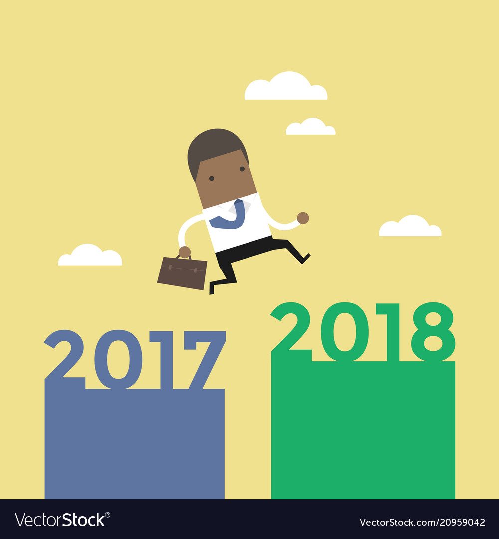 African businessman jump from 2017 to 2018
