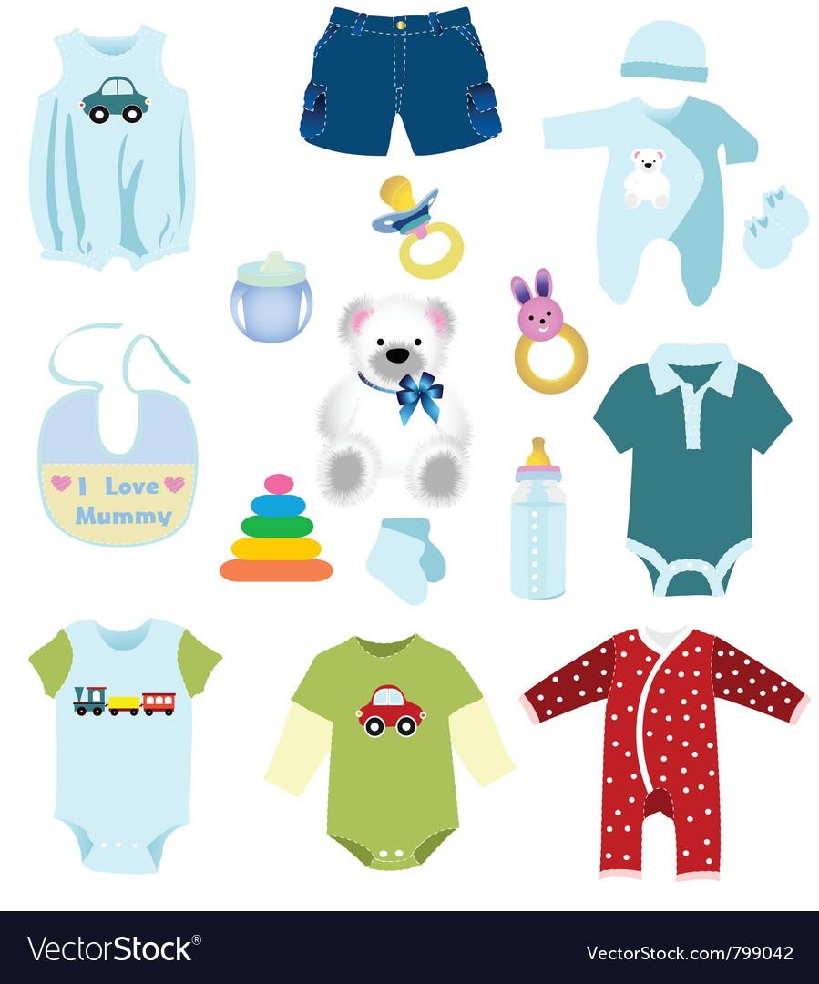 69e2babd3 Baby boy elements clothes Royalty Free Vector Image