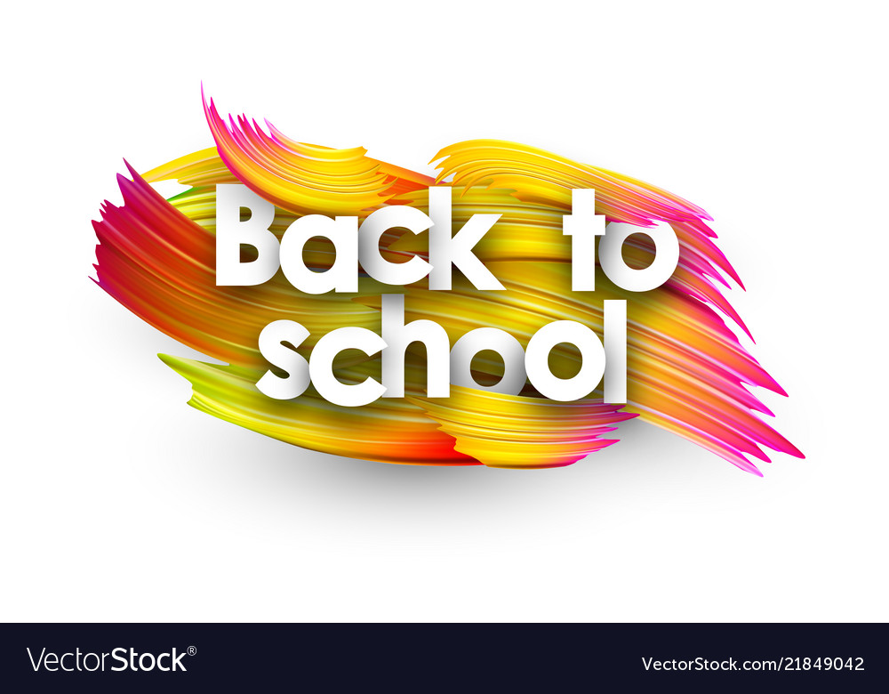 Back to school poster with colorful brush strokes