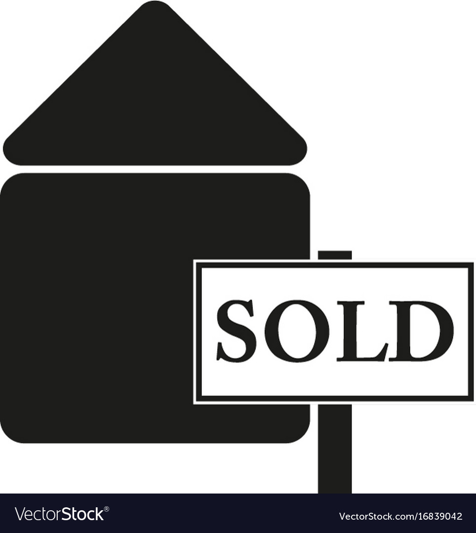 Badge sold sign black icon