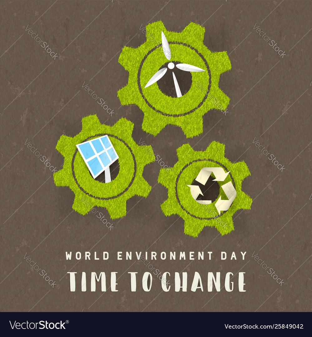 Environment day card green energy concept