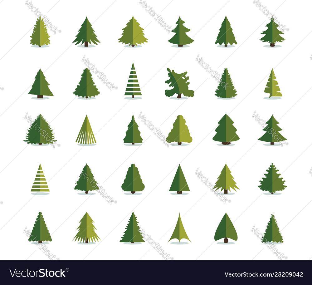 Fir tree icon christmas trees set pine flat