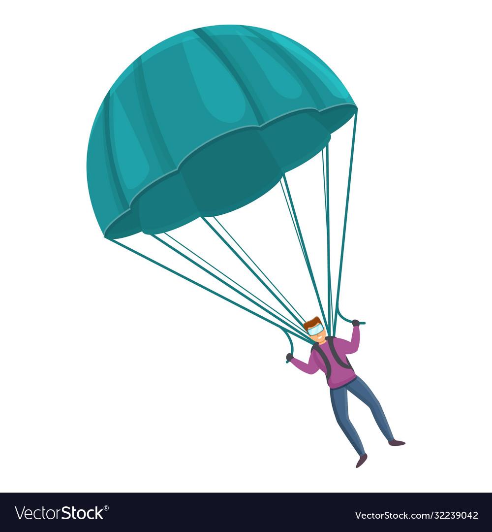 Flying parachute icon cartoon style