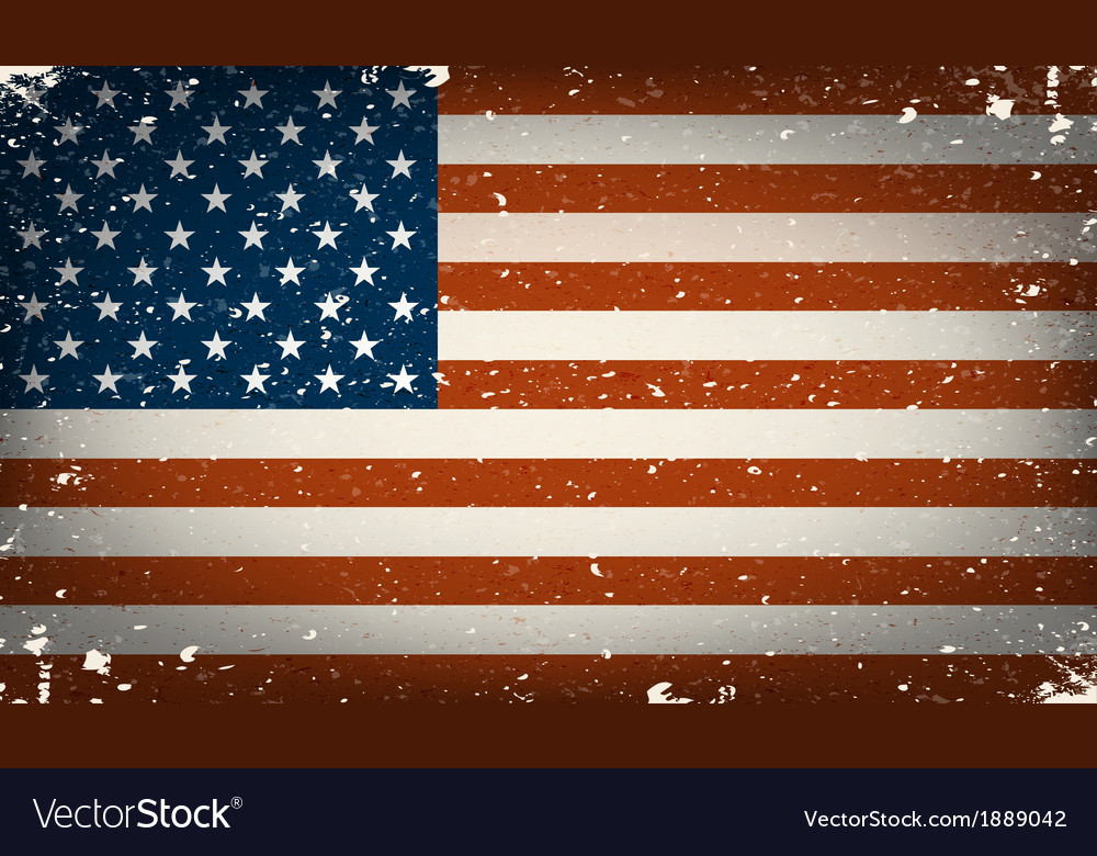 Grunge worn out american flag vector image