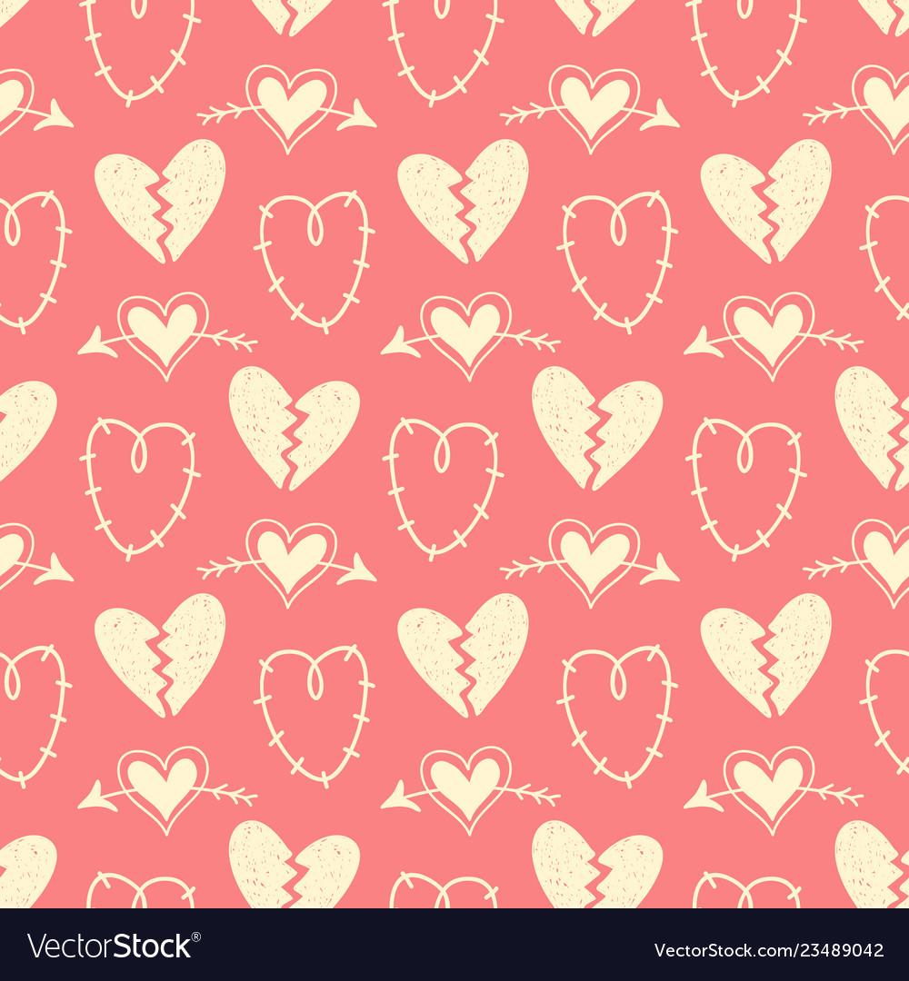 Hand drawn hearts seamless pattern