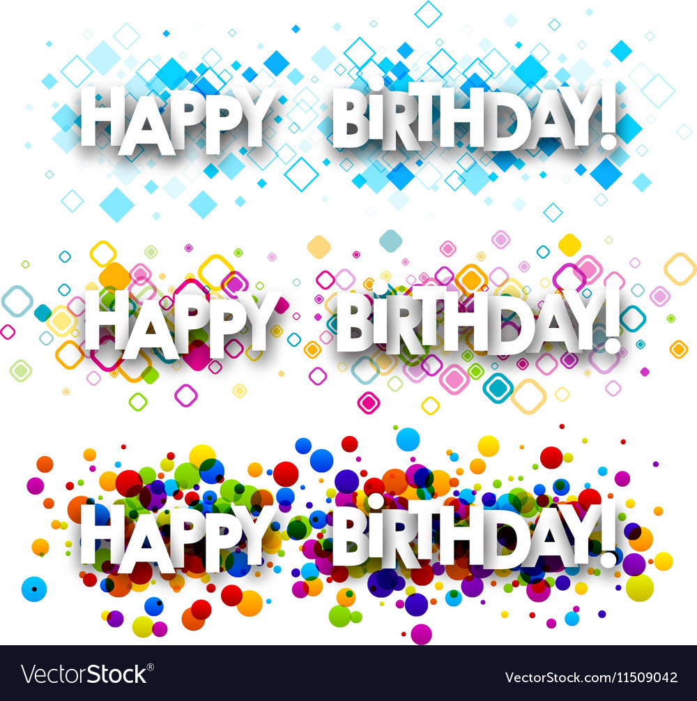 Happy birthday color banners vector image